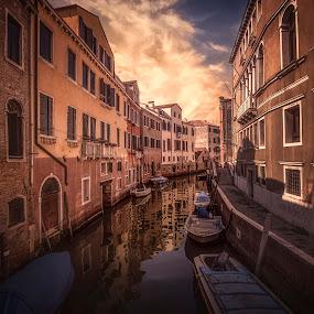 Rio De S. Margherita by Ole Steffensen - City,  Street & Park  Neighborhoods ( venezia, boats, street, venice, italy, canal, rio de s. margherita,  )