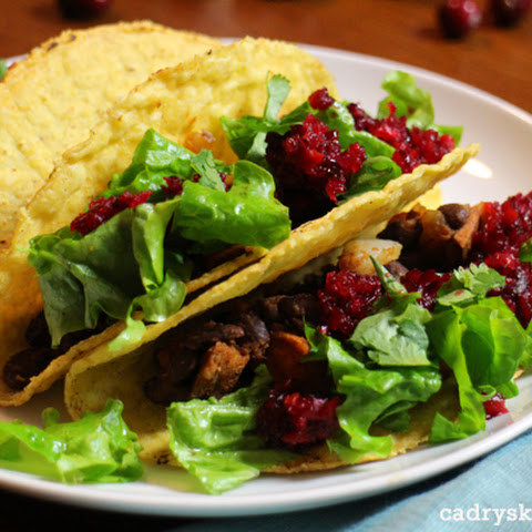 Sweet Potato & Black Bean Tacos with Cranberry-Orange Salsa