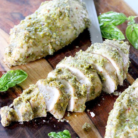 Two Ingredient Pesto Baked Chicken Breasts
