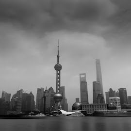 Shanghai Noon by Jaideep Abraham - City,  Street & Park  Skylines ( skyline, noon, long exposure, travel, iso50, shanghai, china, nd filter )