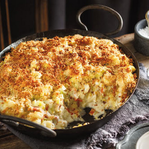 Cauliflower, Leek and Bacon Gratin