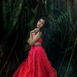 LADY IN RED by Ka Seng - Wedding Bride ( red, beautiful, lady )