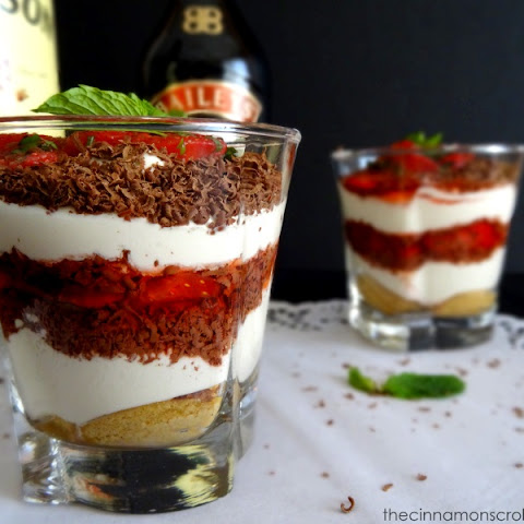 Mocha Trifles with Whiskey Strawberries & Bailey's Cream