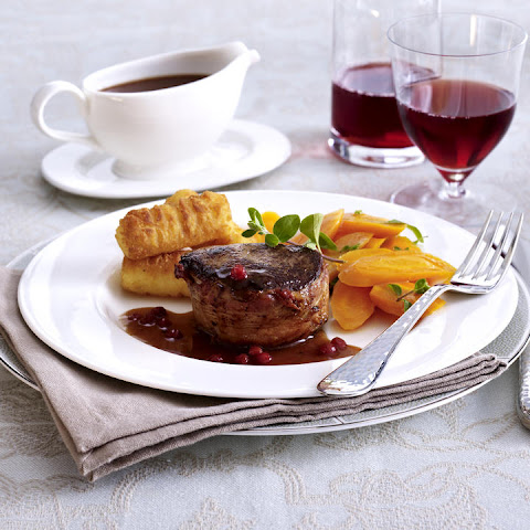 Venison Medallions with Port Sauce and Potato Croquettes