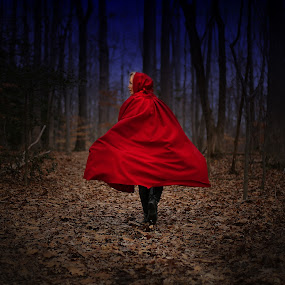Into The Woods by Elk Baiter - People Street & Candids ( red, riding, forest, hood, woods, nursery rhyme,  )