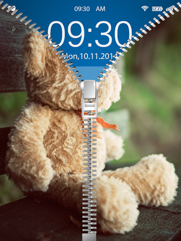 android Cute Teddy Bear Zip Lock Screenshot 0