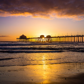 Huntington Pier at Sunset by Tim Davies - Buildings & Architecture Bridges & Suspended Structures ( orange, peacful, sunset, pier, huntington pier, beach, light, huntington beach )
