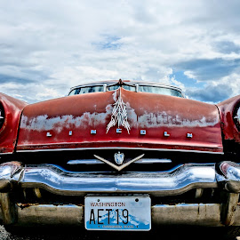 1953 Lincoln Capri by Barbara Brock - Transportation Automobiles ( car, red, old car, lincoln, cloudy skies, classic lincoln, antique car )