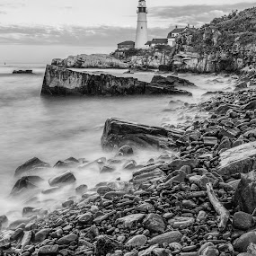 Portland Head by Tom Whitney - Buildings & Architecture Public & Historical ( water, tourist, maine, new england, lighthouse, portland head light, beach, phl, stones, surf, rocks, , black and white, b&w, landscape )