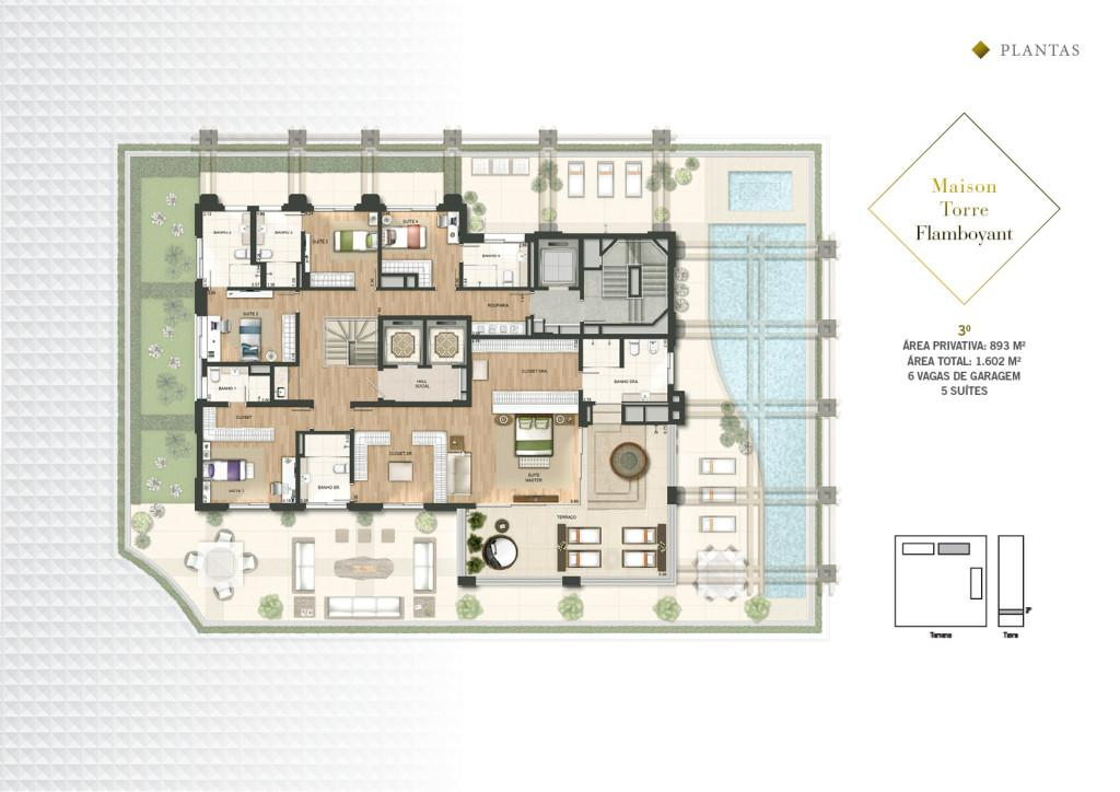 Planta Maison Duplex Pav Superior da Torre Flamboyant