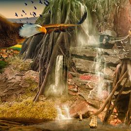 Where Eagles Dare  by Kevin Baxter - Digital Art Places ( cliffs, waterfalls, eagle, bird of prey, cliff, waterfall, boats, sea, seascape, landscape, sunlight, eagles, bird in flight, bird, village, tree, sunset, trees, castle, sunrise, landscapes, river )