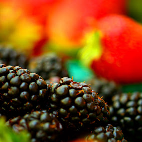 Berry Colorful by Jim Schlett - Food & Drink Fruits & Vegetables ( blackberry, red, blue, still life, strawberries, strawberry, berries )