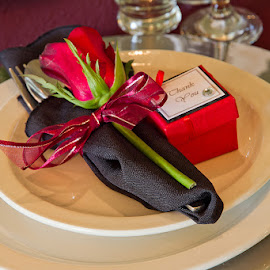 Table decor. by Gavin Smith - Wedding Details ( table decor, red, wedding, gifts, flowers )