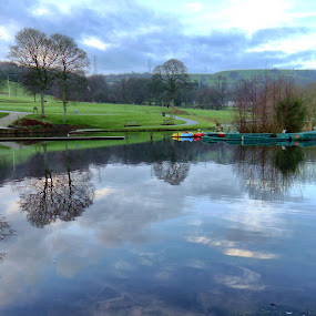 Shibden Park and Hall by James Holdsworth - City,  Street & Park  City Parks ( colour, water, reflection, park, boats, atmosphere, pwcbenches, lake )