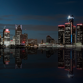 Reflections of Detroit by Pat Eisenberger - City,  Street & Park  Skylines ( skyline, renaissance center, reflections, detroit, evening, dusk, reflect, river )