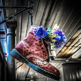 Dr Flowers by Adam Lang - Artistic Objects Clothing & Accessories ( dr martens, boot, red, basket, flowers )