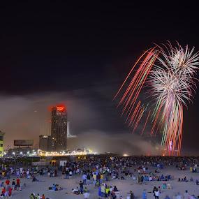 ATLANTIC CITY BEACH  by Dejan Gavrilovic - Public Holidays July 4th ( july 4th atlantic city beach, Fireworks, bonfire, bonfire night, abstract, fireworks, fire, new year, dipawali, diwali, 2014, night, lights,  )