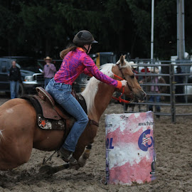 Fastest Cowgirl In Town by Brian  Shoemaker  - Animals Horses ( barrels, racing, horse, rodeo, cowgirl )