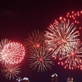 Pre-NDP Fireworks by Chin KK - City,  Street & Park  Skylines ( ndp, mbs, fireworks, finalrehearsal, evening )