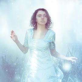 Ice Queen by Nigel Hawkins - People Portraits of Women ( fantasy, queen, snow, white, brunette, light, portrait, mode )