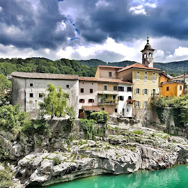 By the river Soca by Andreja Svenšek - Buildings & Architecture Other Exteriors ( nature, mountain village, waterscape, green, slovenia, old town, travel, travel photography, river )