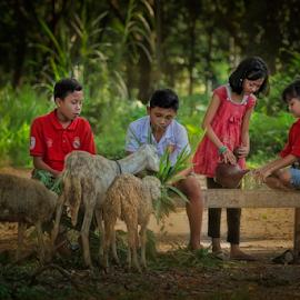 feeding goats by Adam Bishawa - Babies & Children Children Candids