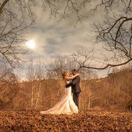 winter love by Ioannis Fine Art - Wedding Bride & Groom ( love, winter, wedding, couple, bride, people, groom )