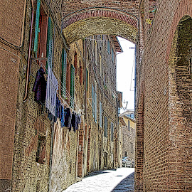 The Alley Way by Jim Antonicello - Buildings & Architecture Homes ( clothing, brick, italy, alley )
