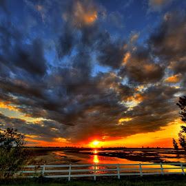 Sunset Fence by Derrill Grabenstein - Landscapes Sunsets & Sunrises