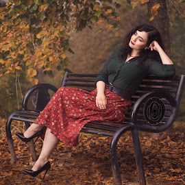 Autumn Dream by Eric Gordon - People Portraits of Women ( classy, bench, vintage, autumn, relaxing )