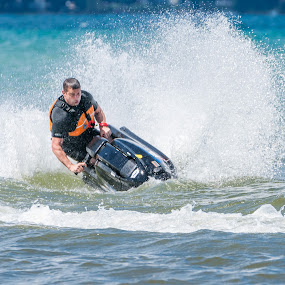Buried the Nose by Andrew Christmann - Sports & Fitness Watersports ( water, yamaha, lake michigan, blue, jet ski )