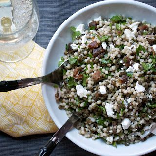 Lentil & Israeli Couscous Salad with Parsley, Apricots, and Goat Cheese