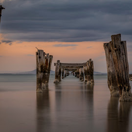Old Jetty by Dimitrije Antonijevic - Buildings & Architecture Other Exteriors ( water, structure, old, wood, bay, sea, long exposure, jetty, seascape, nikon, landscape )