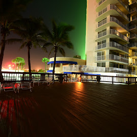 Radisson Ocean Front Melbourne Florida by John Wayne Robert Jansen - Buildings & Architecture Office Buildings & Hotels ( holiday, lights, outdoor photography, outdoors, ocean, hotel, deck )