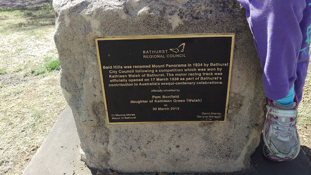 This plaque is located in a fairly remote part of what is arguably Australia's most famous motorsport venue.  Plaque reads: 'Bathurst Regional Council Bald Hills was renamed  Mount Panorama in 1934 ...