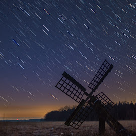 Falling stars by Nico Sinselmeijer - Landscapes Starscapes ( field, mill, startrail, sky, molen, stars, holland, tjalker, dutch, night, startrails, old dutch )