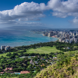 Hawaii Vista by Myra Brizendine Wilson - Landscapes Beaches ( waikiki beach, diamond head, vista view, beach, hi, waikiki,  )