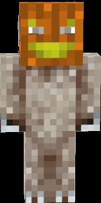 Its wearing a pumpkin mask.