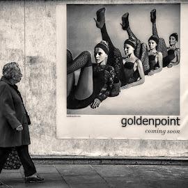 Golden point by Diego Ravalico - City,  Street & Park  Street Scenes ( shop, woman, poster, way, town, street scene, city )