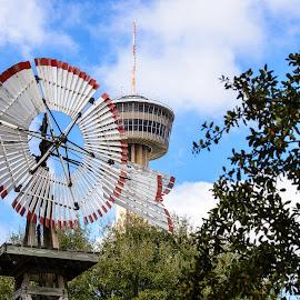 Texas Windmill with the Tower of America by Judy Rosanno - City,  Street & Park  Historic Districts