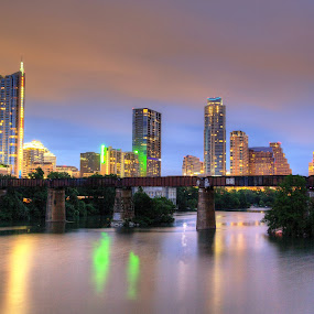 Twilight by Dave Files - City,  Street & Park  Skylines ( water, austin, tx, twilight, cityscape, digital )