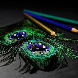 Mardi Gras II by Ishaan Sengupta - Artistic Objects Still Life ( #golden, #droplets, #pencils, #peacockquills, #green, #purple )