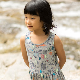 Kid at waterfall by Loh Jiann - Babies & Children Child Portraits ( natural, waterfall, portrait, child, smile )