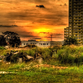 sunset by Lubelter Voy - Landscapes Travel ( building, grass, sunset, green, oranges, places, furniture, evening, abandoned )