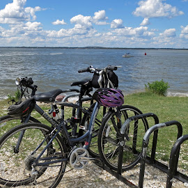by Judy Florio - Transportation Bicycles ( clouds, sky, bay, jersey shore, bikes, summer, atlantic,  )