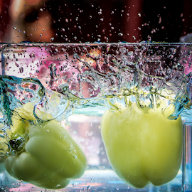 Double splashed by Suzana Trifkovic - Food & Drink Fruits & Vegetables ( water, two, duo, splashing, splash, bell pepper )