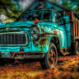 Old Blue by Chris Cavallo - Digital Art Things ( maine, blue, digital art, rusty, rust, aqua, decay, abandoned )