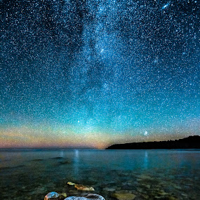 Cosmos Over Georgian Bay by Trevor Pottelberg - Landscapes Starscapes ( autumn, stars, fall, dark skies, night, north, astronomy, bruce peninsula )