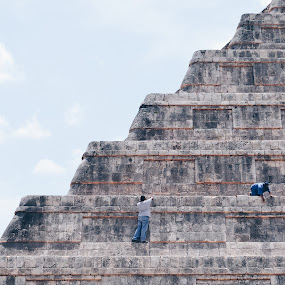 Chichen-Itzá by Valentina Cantera - Buildings & Architecture Public & Historical ( art, stair, steps, stone, maya, rock, mexico, men, pyramid, man, stairway, rivera maya, staircase )