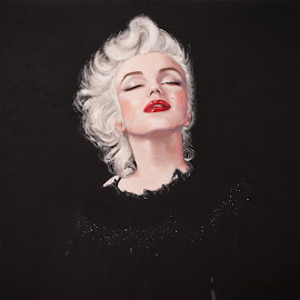 Black Marilyn by Jocelyne Maucotel - Painting All Painting ( celebrity, marilyn monroe, painting, portrait )